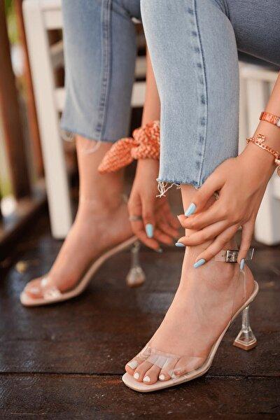 Kadın Ten Rugan Kiko Model Şeffaf 8 cm Topuklu Şeffaf Bantli Ayakkabı
