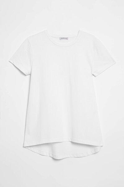 SAMANTHA  Kadın Beyaz Comfort Fit Arkası Uzun T-Shirt