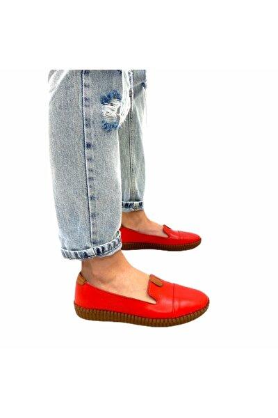 Kadın Kırmızı Elba Model Ortopedik Taban Deri Babet