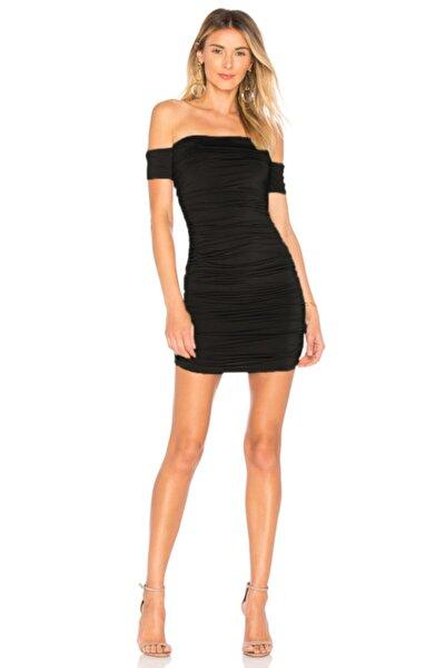 Kadın Siyah Büzgülü Drapeli Elbise