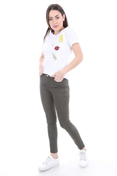 Kadın Haki Cepli Gabardin Pantolon 6322