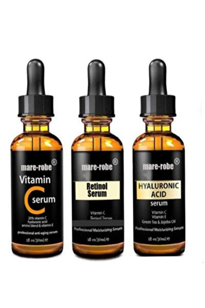 3'lü Cilt Bakım Serumları Hyaluronic Acid Vitamin C Retinol Cilt Bakım Serumu
