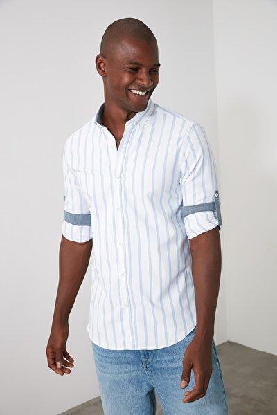 Mavi Erkek Çizgili Apoletli Slim Fit Gömlek TMNAW21GO0344