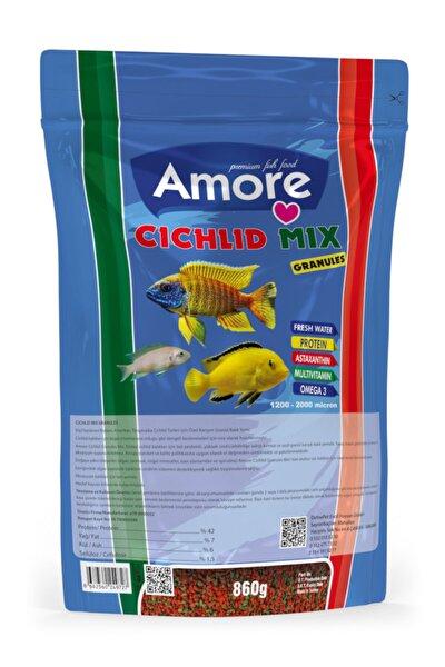 Cichlid Mix Granules Malawi Amerikan Tanganyika Ciklet Protein 860 G Spirulina Balık Yemi