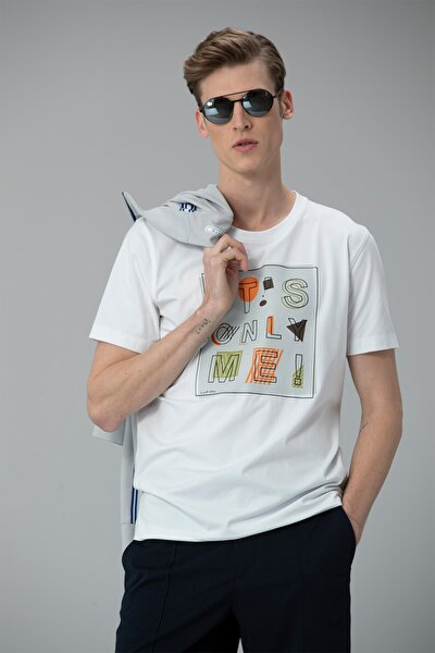 Etax Modern Grafik T- Shirt Beyaz