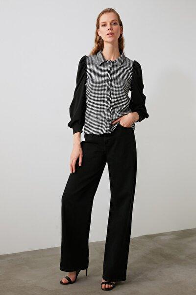 Siyah Kaz Ayaklı Gömlek TWOAW21GO0274