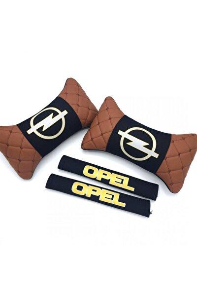 Opel Logolu Boyun Yastığı Ve Emniyet Kemer Kılıfı Kahverengi Siyah