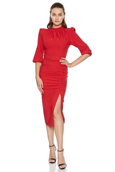 Kadın Kırmızı Krep 3/4 Kol Midi Elbise