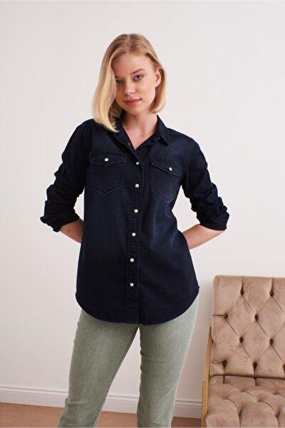 Kadın Mavi  Denım Gömlek