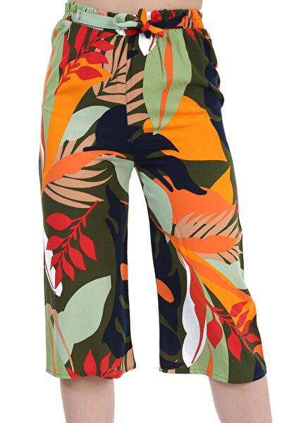 Kadın Yeşil Büyük Yaprak Desen Bol Paça Pantolon