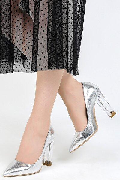 Kadın Gümüş Kırışık Topuklu Ayakkabı