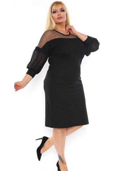 Kadın Siyah Yarasa Kollu Üstü Fileli Triko Elbise
