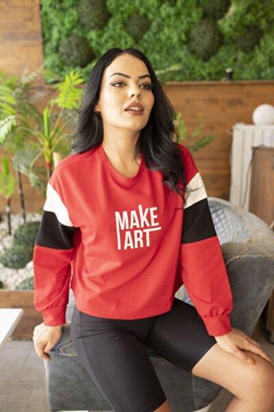 Kadın Kırmızı Make Art Baskılı Kol Detaylı Sweatshirt