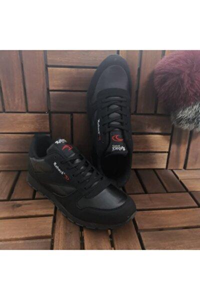 Ortopedik Günlük Rahat Yürüyüş Erkek Spor Ayakabısı Cilt Siyah Sneaker