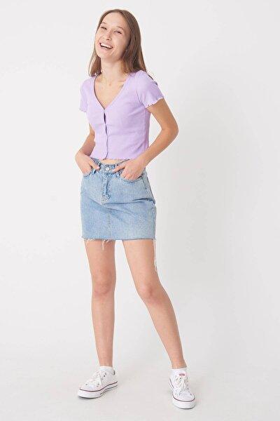 Kadın Lila Düğme Detaylı Bluz P0753 - E11 ADX-0000020818