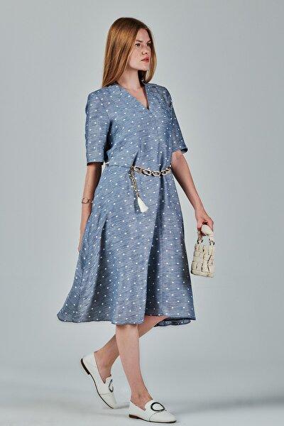 Jeanne D'arc Puantiyeli Belden Kemerli A Form Elbise Je89821