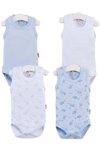 Unisex Bebek Mavi Baskılı Zıbın Seti 4' lü