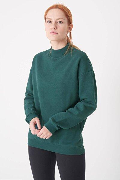 Kadın Koyu Yeşil Yarım Balıkçı Yaka Sweat S8606 - B4 - B5 ADX-0000019754