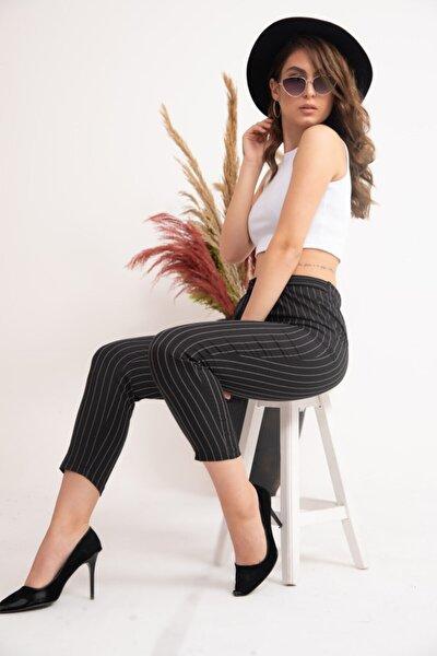 Kadın Siyah Çizgili Bilek Boy Pantolon Glm-125