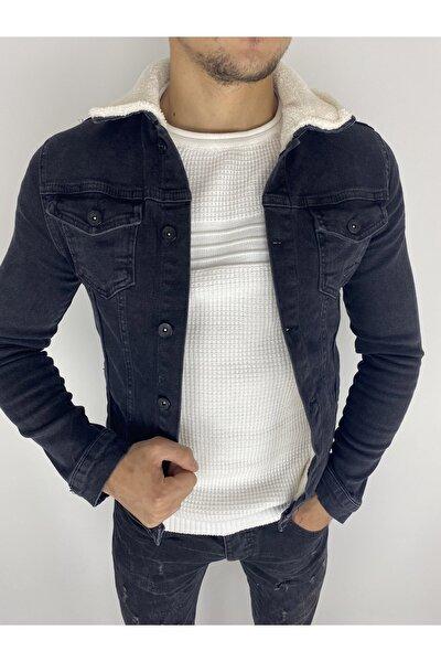 Erkek Siyah Içi Yünlü Düğmeli Slim Fit Kot Ceket