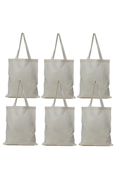 Beyaz Baskısız Bez Çanta 35x40 Kulplu Naturel 6 Adet