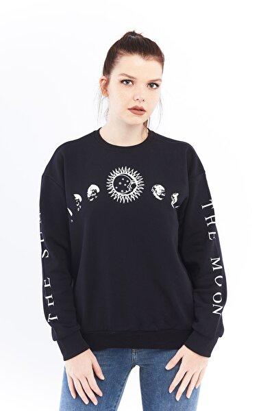 Kadın Siyah Gezegen Sweatshirt Ctyabr8202