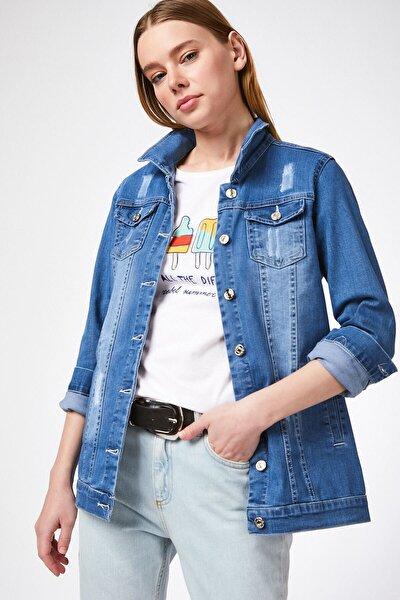 Kadın Mavi Cepli Kot Ceket 0613