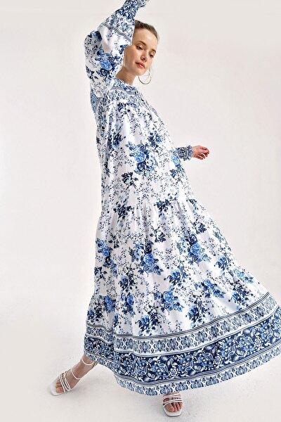 Kadın Mavi Çiçek Desenli Kol Büzgülü Robalı Elbise 1947