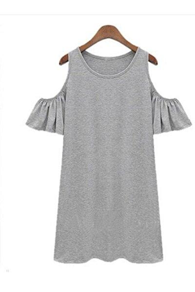 Kadın Gri Düşük Kol Elbise