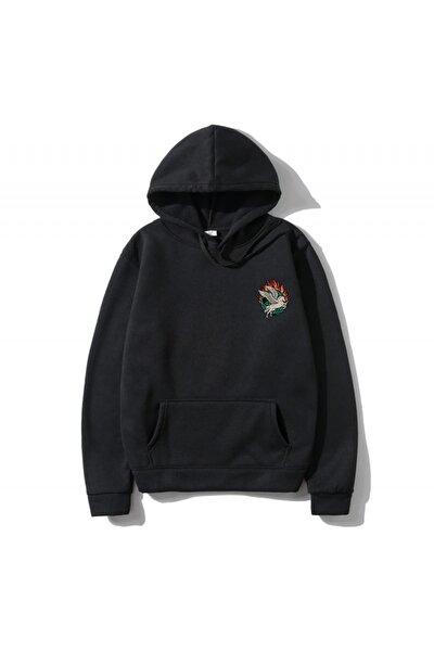 Unisex Siyah Baskılı Sweatshirt