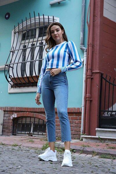 Kadın Mavi Boyfriend Jeans