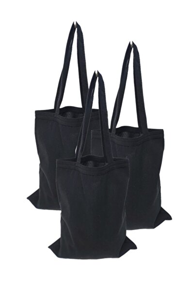 Siyah 3 adet Baskısız Kulplu Bez Çanta 35x40