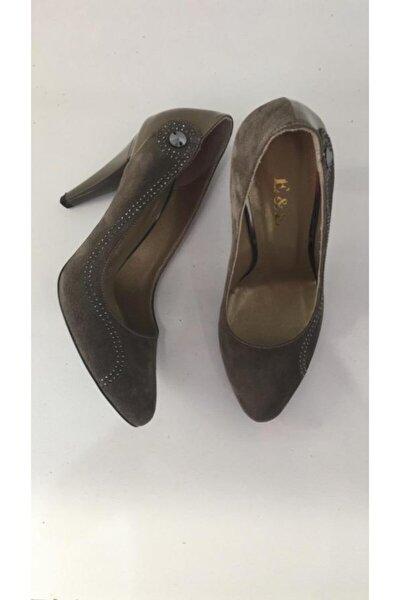 Kadın Kahve Topuklu Klasik Hakiki Deri Ayakkabı 325