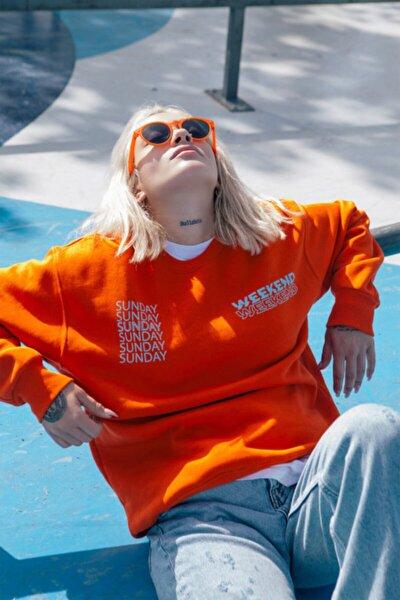 Unisex Turuncu Eazy Weekend Sweatshirt