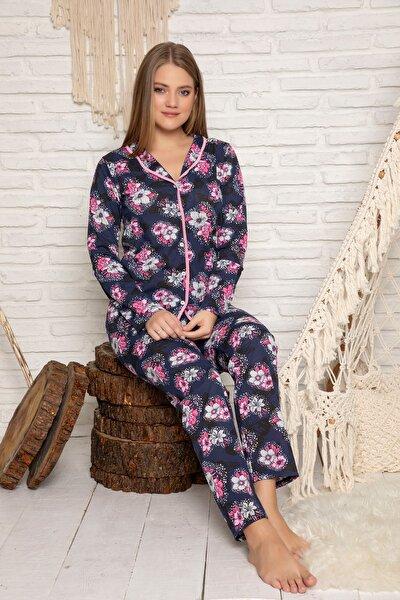 Kadın Desenli Pamuklu Düğmeli Pijama Takim