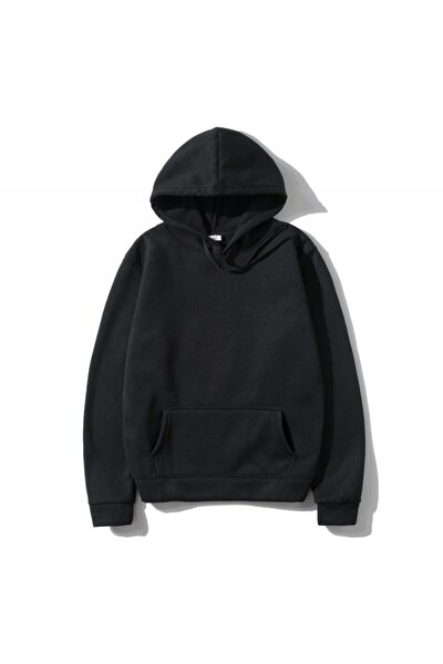 Unisex Oversize Siyah Basic Sweatshirt