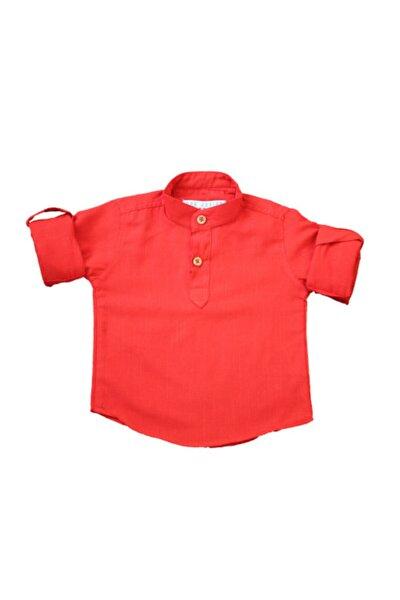 Erkek Çocuk Kırımızı Pamuklu Önden Düğmeli Gömlek