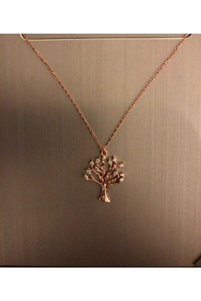 925 Ayar Gümüş Roz Rengi Ağaç Model Kolye