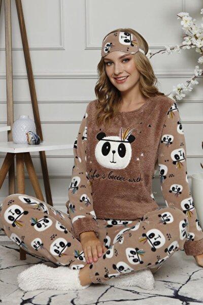 Life Panda Desenli Kadın Peluş Pijama Takımı