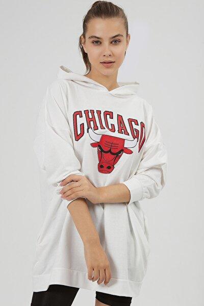 Kadın Chicago Baskılı Oversize Sweatshirt Y20w185-1280-1