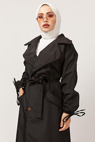 Kadın Siyah Kol Detaylı Kuşaklı Trençkot