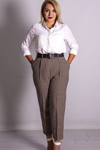 Kadın Kahverengi Ekose Kemerli Pantolon