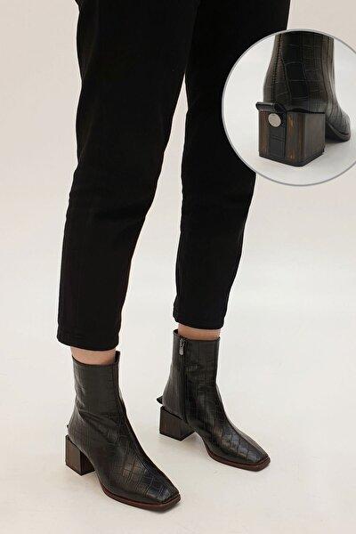 Kadın Sayen Topuklu Botsiyah Croco