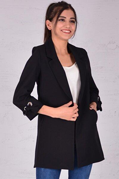 Kadın Siyah Koldan Bağlama Ceket