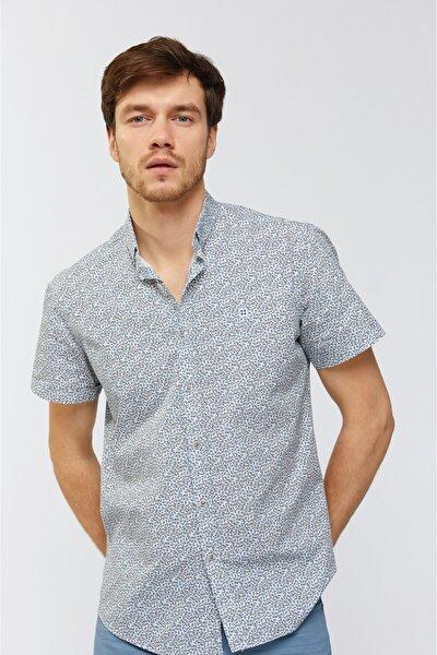 Erkek Mavi Baskılı Düğmeli Yaka Slim Fit Kısa Kol Gömlek A91S2045