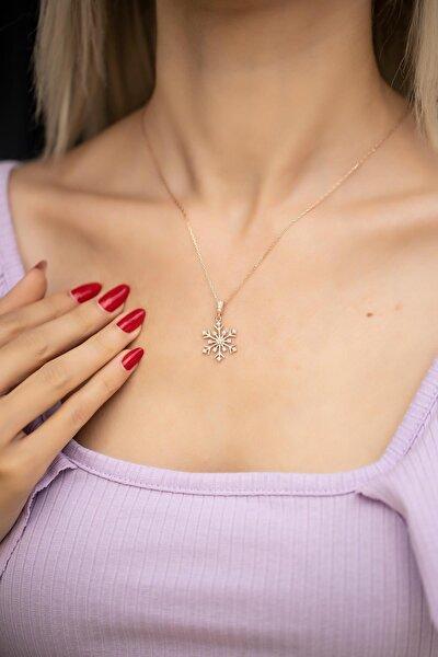 Kadın Kar Tanesi Model Zirkon Taşlı Rose Gümüş Kolye İZLASLVR00479