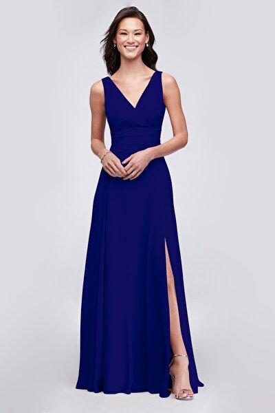 Kadın Kobalt Mavisi Kruvaze Yaka Yırtmaçlı Uzun Şifon Elbise F19831