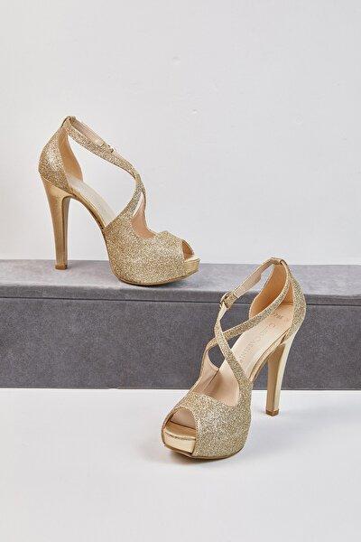 Kadın Altın Rengi Tek Bantlı Abiye Ayakkabı GRACE