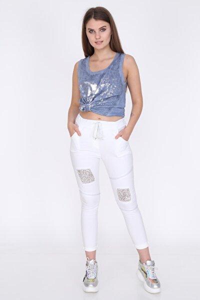 Kadın Beyaz Dizi Payetli Pantolon