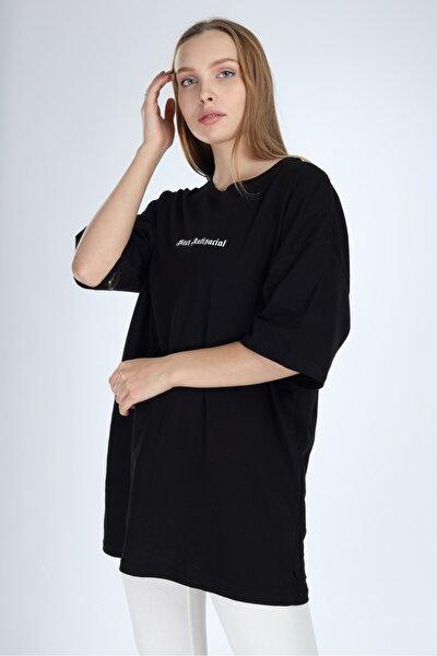 Kadın Siyah Stay Antisocial Baskılı Oversize T-shirt
